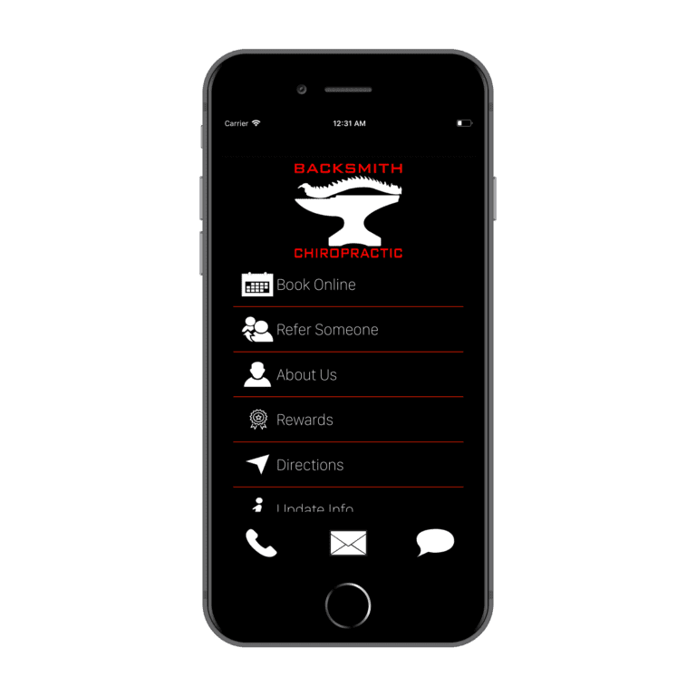 BackSmith Connect 2.0 iOS home